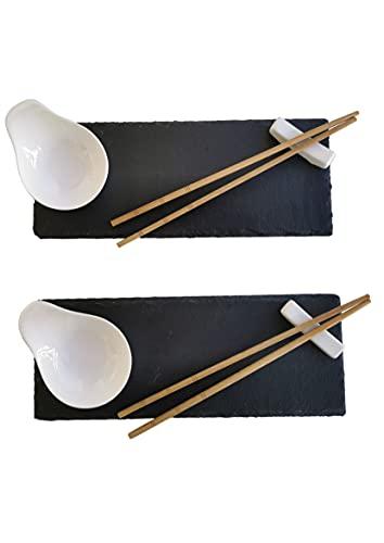 SabelAX - Vajilla Sushi para 2 Personas - 10 Piezas - 2 Platos Pizarra Negra (28x11 cm), 2 Cuencos para Salsas, 2 Soportes para Palillos, 4 Palillos - Moderna Elegante Oriental Japonesa