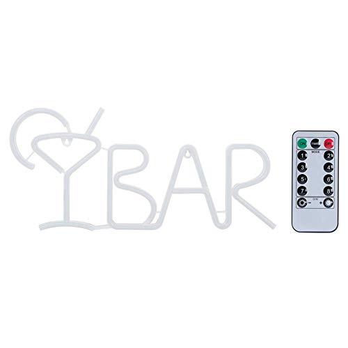 FastUU Luz de neón USB, Letras de Bar de Ahorro de energía en Forma de luz de neón LED, letreros de Tienda, con 3 baterías, Control Remoto, para Bar, Boda Festiva, Fiesta, jardín(Rosado)