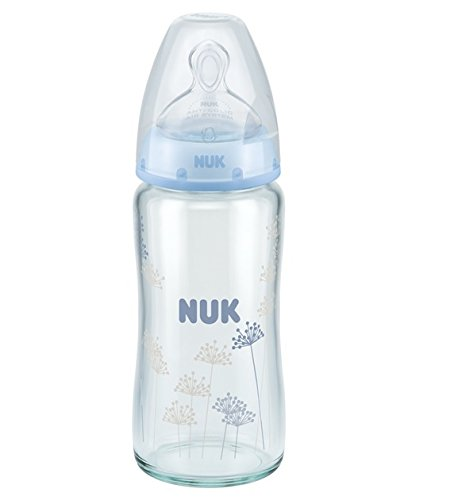 NUK First Choice + Glass Baby Bottle 240ml Size 1Medium 0–6meses with Anticólico, 2teat Made from Silicone for Milk feeds