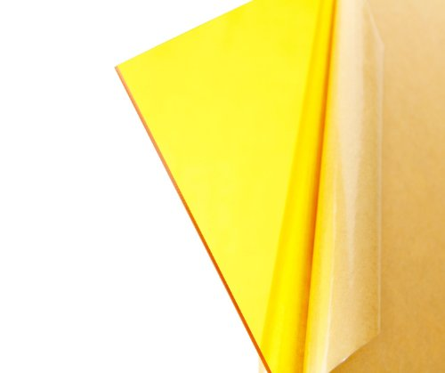 """Cast Acrylic Sheet - .118"""" Thick, TP Yellow, 12"""" x 12"""" Nominal"""