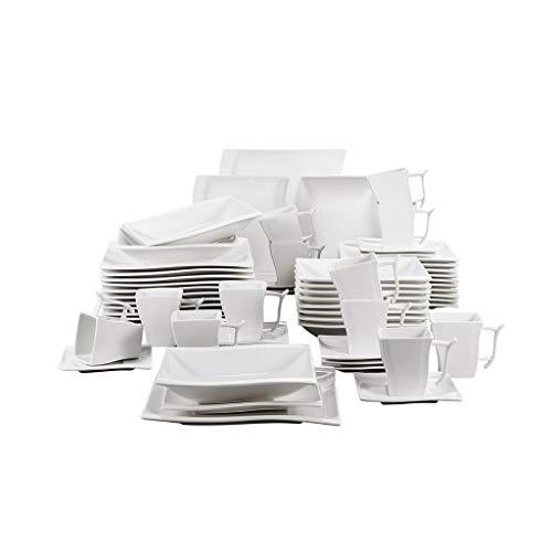 XXDTG Conjunto de Cena de Porcelana Blanca de 60 Piezas con 12xcup, platillo, Sopa de Postre Placa de Cena de Cena Servicio de Juego