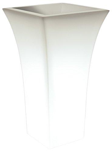 Farmet T/271 Patio Quadrato con Luce Vaso in Polietilene, Bianco Perla