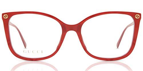 Gucci Unisex – Erwachsene GG0026O-004-53 Brillengestell, Red-red-transparent, 53