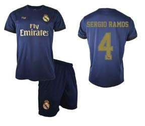 Conjunto Camiseta y pantalón 2ª equipación Navy Real Madrid 2019-20 - Replica Oficial con Licencia - Dorsal 4 Sergio Ramos - Niño Talla 10