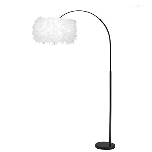 E27 pluma arqueada lámpara de pie de metal hermosa pantalla blanca base de mármol decoración sala de estar dormitorio lámpara de pie curvada