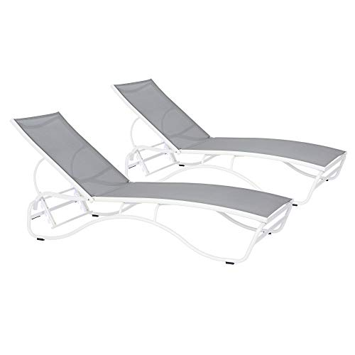 Duramax Corsica Sun Lounger, 5 Reclining positions, Sun loungers for pools, decks and hotels, Garden sun bed, Stackable sun loungers, Multi-position back rest, White Frame with grey sling, Set of 2