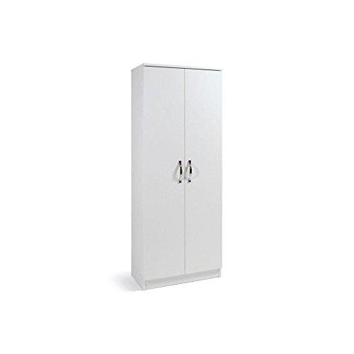 Armadio scarpiera bianco mobile due ante multiuso 6 ripiani cm182x71x38