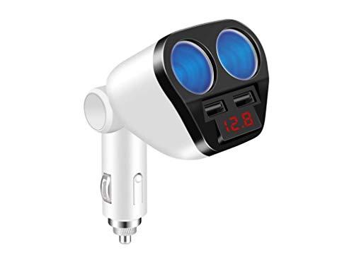 2 Douilles Allume-Cigare Adaptateur, 120 W Dual USB Chargeur Adaptateur De Voiture Avec Digital Voltage LED D'affichage Compatible Pour Iphone Ipad Android