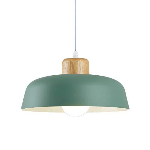 HJXDtech Luz colgante de metal redonda simple moderna nórdica,Lámpara de techo grande con acabado de madera E27 para salón de dormitorio de cocina (Verde)