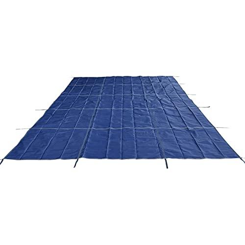 HWF Cobertor Cubierta Fundas para Piscinas, Cubierta de Seguridad para Piscinas enterradas, Grande Cubierta de Piscinas de Invierno con Anclas de Latón, Incluyendo Todo el Hardware Necesario, Azul
