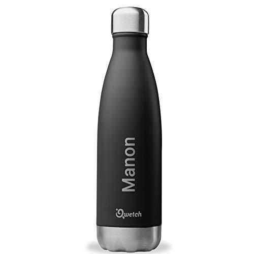 QWETCH Bouteille Isotherme Personnalisée Gravée en INOX 500ml - Maintient Vos Boissons au Chaud Pendant 12 Heures & au Frais Pendant 24 Heures – BPA Free (Noir)