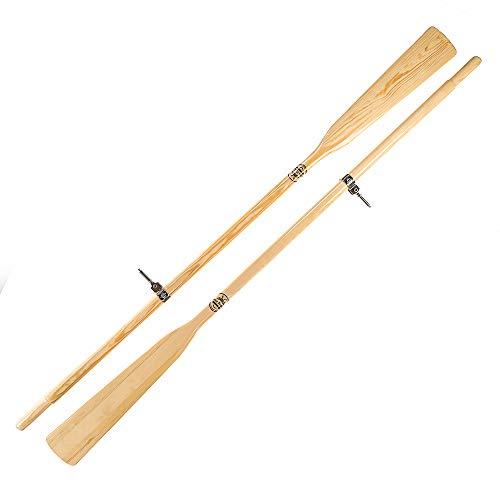 John Paddle Set:1 Paar (2 Stück) Holzruder Bootsriemen + 2 Ruderdollen (2 Ruderlager + 2 Kragen) aus Edelstahl + Oar Sleeve (Rudertasche) - EU Produktion (240 cm, Ruder mit Ruderdollen)