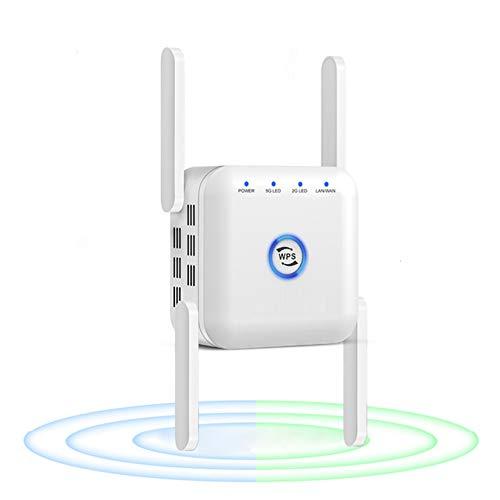 MTX-Racks Extender WiFi Range, 1200MBPS Rooster WiFi BANTE Dual Banda Dual 2.4 / 5GHZ WPS Señal inalámbrica Penetrabilidad Fuerte, 4 Antenas Extensor WiFi con Ap/Enrutador/Modo de repetidor,White