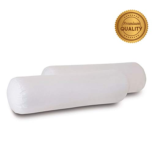 Lowest Price! Plankroad Home Décor 9Dx32 Hypoallergenic Luxury 100% Small Feather Bolster Pillow Insert, 100% Cambric Cotton Shell, Never Vacuum-Packed, Odorless, Made in USA, Set of 2