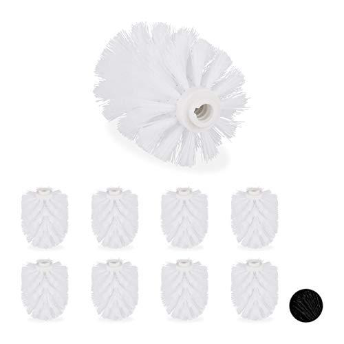 Relaxdays, weiß Ersatzbürstenkopf für Klobürste, im 9er Set, Ersatz WC Bürstenkopf, Kunststoff, 12 mm Gewinde, D: 7 cm, 9 Stück