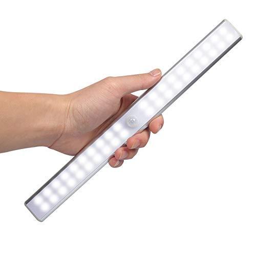 Zikud 40 LED Bewegungsmelder Kleiderschrank Nachtlicht,Wiederaufladbare USB-Lampe, Mit Magnetstreifen Und 3M-Klebestift Auf Der Steintreppe Schritt(40 LED kaltweiß)