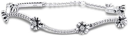 Pulsera de cadena de enlaces de flores de la margarita de la primavera para las mujeres 925 plateado bricolaje se adapta a las pulseras Pandora original Joyería de moda del encanto