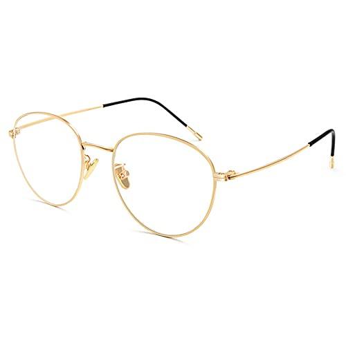 EYEphd Gafas de Lectura Anti-Azules progresivas de múltiples enfoques progresivos de Titanio Puro para Mujer, Exquisita bisagra Retro Gafas de Marco Redondo Aumento +1.0 a +3.0,01,+1.0
