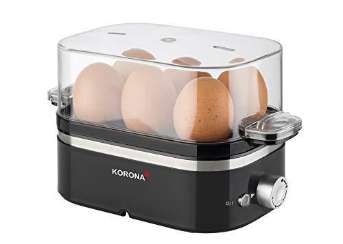 Korona 25306 Eierkocher | 1 bis 6 Eier | 400 Watt max. | einstellbarer Härtegrad | Messbecher mit Eierstecher inklusive