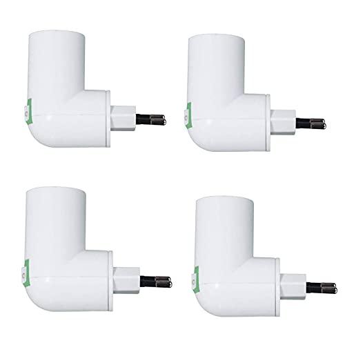 Portalámparas E27, sin cable, casquillo E27, con interruptor, CA 100-240 V, máx. 80 W, adaptador E27, resistente al calor -180 °C, para lámpara móvil de cocina o garaje, 4 unidades (sin bombilla)