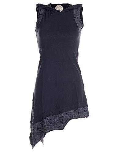 Vishes - Alternative Bekleidung - Asymmetrisches Damen Elfenkleid Baumwolle mit Zipfelkapuze Schwarz 42