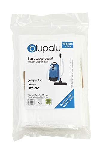 blupalu I Staubsaugerbeutel für Staubsauger Krups 927.930 I 10 Stück I mit Feinstaubfilter
