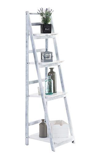 CLP Estantería Escalera Plegable Kirsten En Estilo Rústico I Estantería Librería De Madera con 4 Estantes, Color:Blanco/Gris