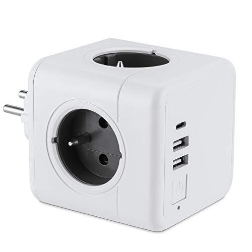 Gobesty - Regleta de alimentación con enchufe multiconector USB, 3840 W, enchufe con 4 tomas 2 puertos USB y de tipo C (3A) con interruptor e indicador luminoso para la oficina, casa, viajes