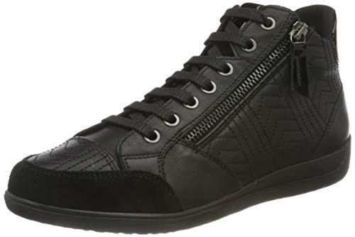 Geox Damen D Myria B Sneaker, Black, 38 EU