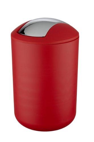 WENKO Schwingdeckeleimer Brasil Rot L - absolut bruchsicher Fassungsvermögen: 6.5 l, Kunststoff (TPE), 19.5 x 31 x 19.5 cm, Rot