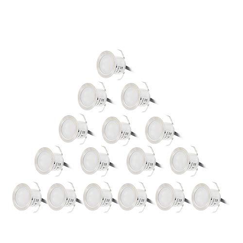 Deck Licht, Entweg 16PCS 0.6W hohe helle vertiefte LED-Plattform-Licht-Wasser-Widerstand IP67 im Boden im Freienlandschaft LED-Beleuchtung für Treppen-Patio-Garten-Fußboden-Ecksauna-Raum