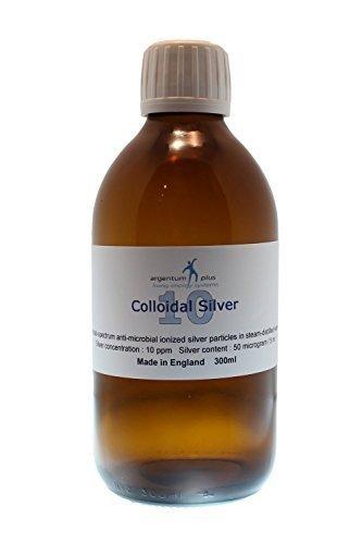 argentum plus – Plata Coloidal 10 ppm - 300 ml - líquido transparente con tapa de dosis de 15 ml