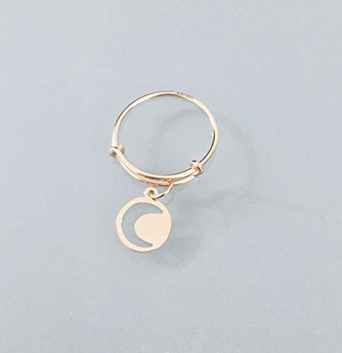 Anillo chapado en oro de 24k con colgante de luna, anillo de oro, anillo celestial, anillo de mujer dorada, anillo de encanto de la suerte, idea de regalo de la mujer