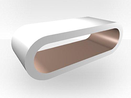 Zespoke Grand meuble TV extérieur blanc – Intérieur cappuccino brillant
