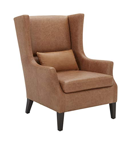 """Amazon Brand – Stone & Beam Wingard Leather Wingback Accent Chair, 32.3""""W, Cognac"""