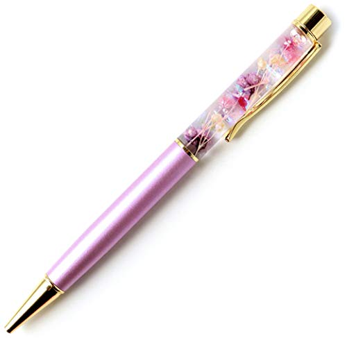 ハーバリウム ボールペン 太さ1.0mm 専用ケース付 花 フラワー (ラベンダー ラメ入り)