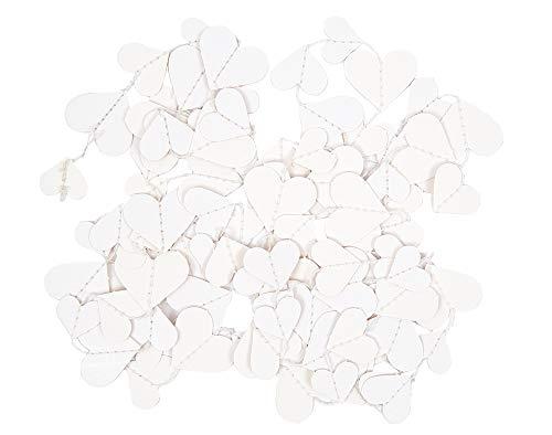 Mini blanco papel guirnalda banderín de corazones para adultos manualidades–2,7m