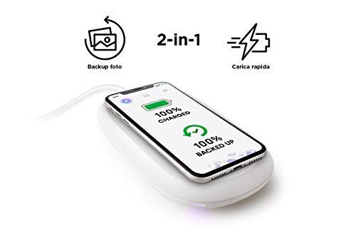 SanDisk iXpand Wireless Charger 128 GB, Caricabatterie Veloce da 10 W con Backup Automatico di Foto per Smartphone Apple e Android Compatibili con Tecnologia Qi