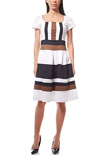 Ashley Brooke Knielanges Prinzesskleid Kleid Jerseykleid Sommerkleid gestreift Weiß, Größenauswahl:34
