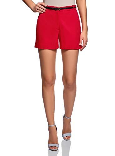 oodji Ultra Mujer Pantalones Cortos de Algodón con Cinturón