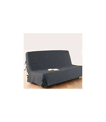 Atmosphera Funda de sofá cama clic-clac - 100% algodón - Color GRIS oscuro