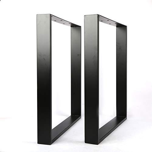 2 x gambe da tavolo in metallo con struttura in ferro da stiro, colore nero, montaggio semplice per tavolo da pranzo, scrivania, tavolino da caffè (71 x 65 cm)