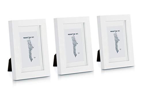 Classic by Casa Chic Bilderrahmen, Massivholz, 15 x 10 cm, Glasfront, mit Passepartout, Rahmenbreite 2 cm, Weiß, 3 Stück, Holz, 6x4 Pack of 3