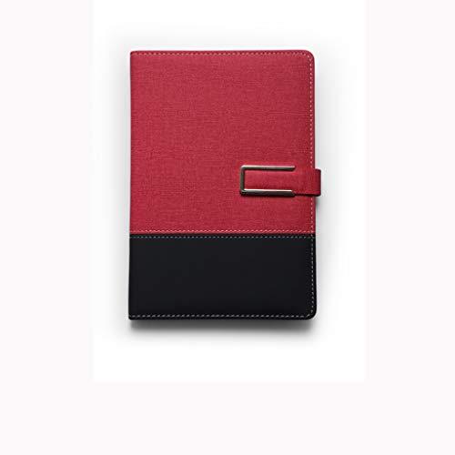 Dongxiao Diario de escritura A5 con patrón de tela, hebilla de costura de cuero duro, papel adhesivo doble, 100 hojas, 200 lados, fácil de llevar, práctico regalo (color rojo)