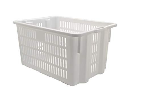 Mobil Plastic cesta per pane - cassa traforata in plastica per alimenti sovrapponibile e impilabile 65 litri con manici - colore bianco neutro