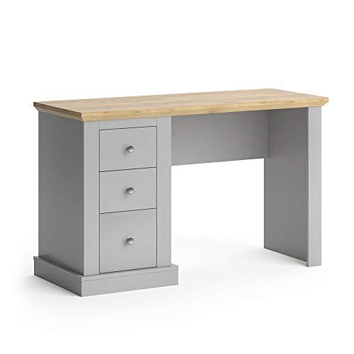 Vicco Schreibtisch Cambridge 3 Schubladen Computertisch PC-Tisch Bürotisch Tisch (Grau-Eiche)