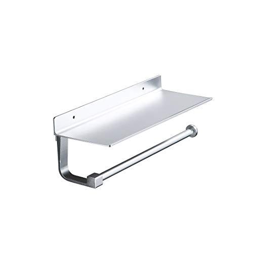 S'AFIELINA Küchenrollenhalter ohne Bohren Küchenrollenhalter Ablage Papierhandtuchhalter Klopapierhalter Küchenrollenhalter Toilettenpapierhalter Aluminium Selbstklebend oder Wandmontage 33x12x8.2cm