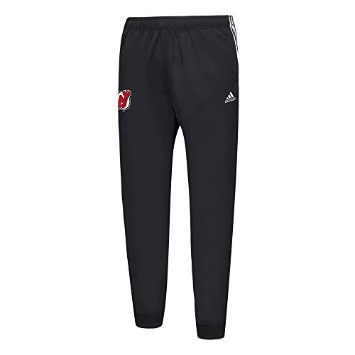adidas Mens NHL 3 Striped Tricot Joggers (XX-Large, New Jersey Devils)