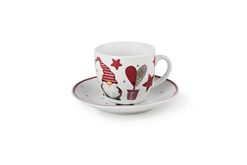 Excelsa Gnomo Christmas - Juego de 6 tazas de café con platillo,...
