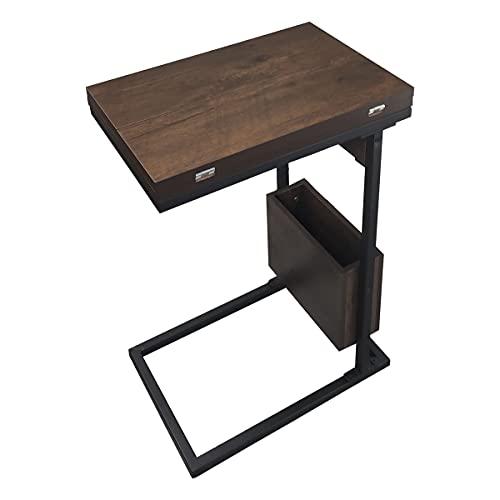 RAKU ソファサイドテーブル 折りたたみ 収納ボックス付 天板拡張可能 ミニデスク カフェテーブル 一人暮らし 木彫目天板 おしゃれ コンパクト 移動ラクラク 幅約45×奥行約30×高さ約66cm 日本語取扱説明書付